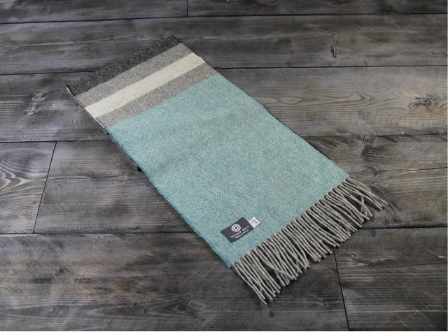 Stripe Kingfisher Welsh Woolen Scarf