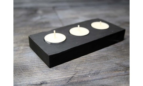 Triple Rectangle Welsh Slate Tealight Holder