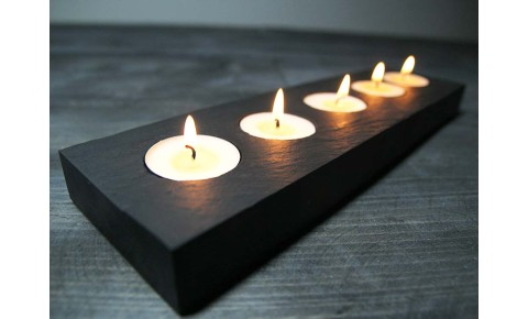 5 Hole Rectangle Welsh Slate Tealight Holder