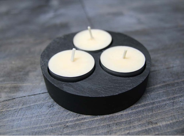 Triple Round Welsh Slate Tealight Holder