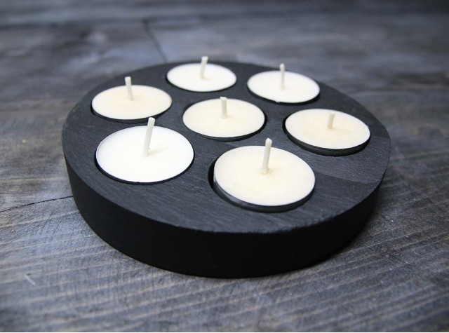 7 Hole Round Welsh Slate Tealight Holder