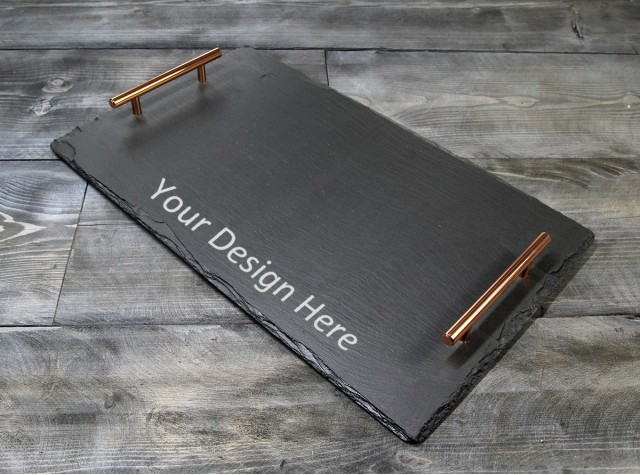 Personalised Welsh Slate Tray - Large Copper