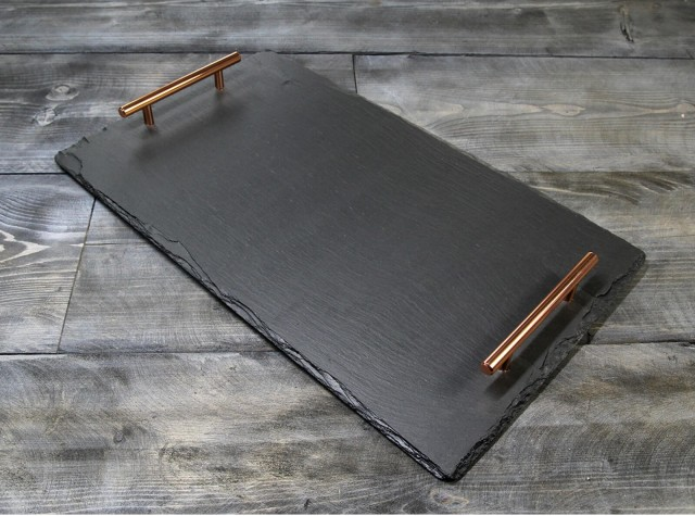 Large Welsh Slate Tray - With Copper Handles