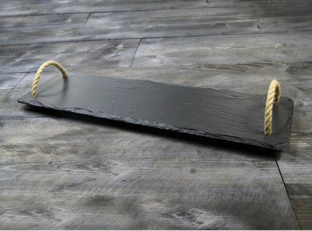 Medium Welsh Slate Tray - With Rope Handles