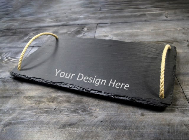 Personalised Welsh Slate Tray - Large Rope