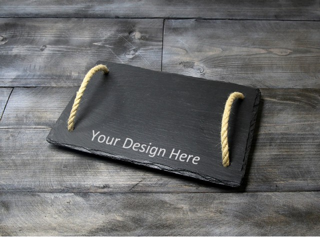 Personalised Welsh Slate Tray - Small Rope