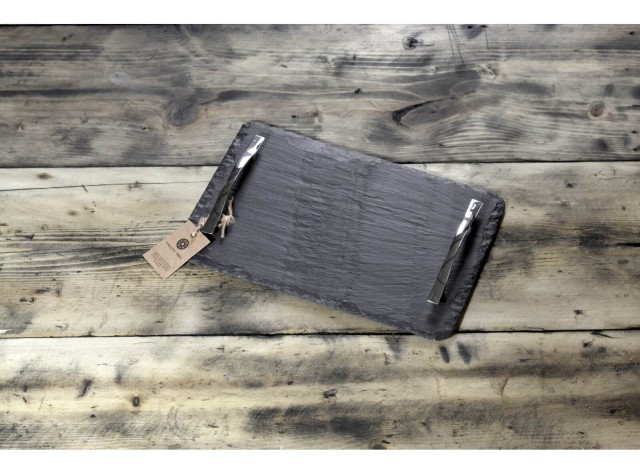 Small Welsh Slate Tray - With Chrome Handles
