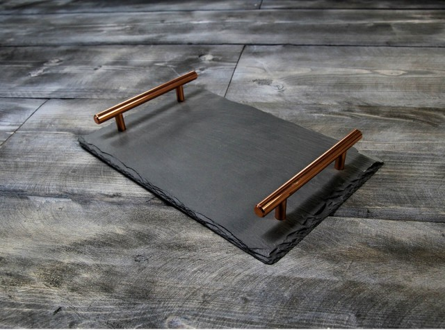 Small Welsh Slate Tray - With Copper Handles