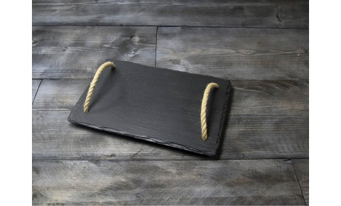 Small Welsh Slate Tray - With Rope Handles