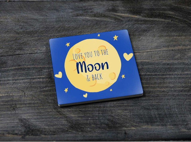 Square Ceramic Coaster - 'Moon and Back'
