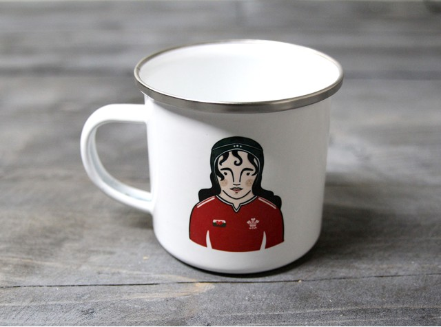 Female Rugby Player Enamel Mug