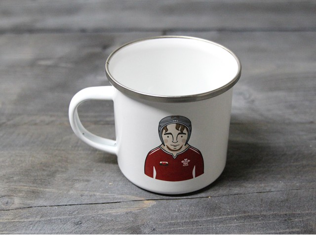 Male Rugby Player Enamel Mug