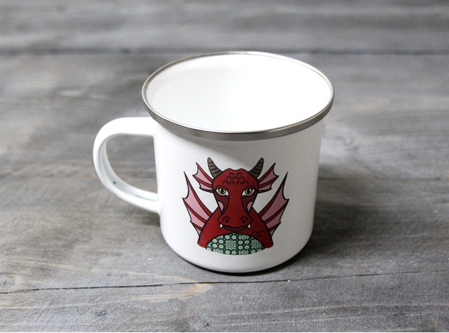 Welsh Dragon Enamel Mug