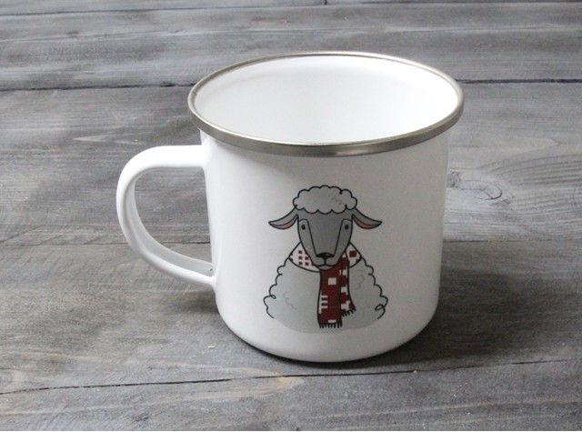 Welsh Sheep Enamel Mug