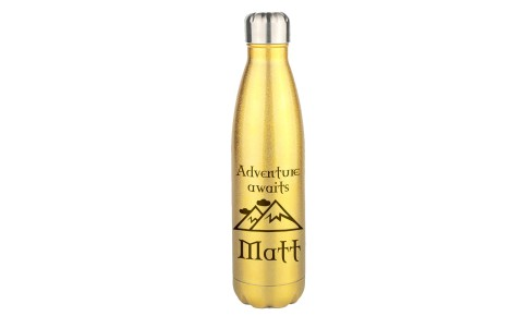 Personalised Gold Glitter Water Bottle