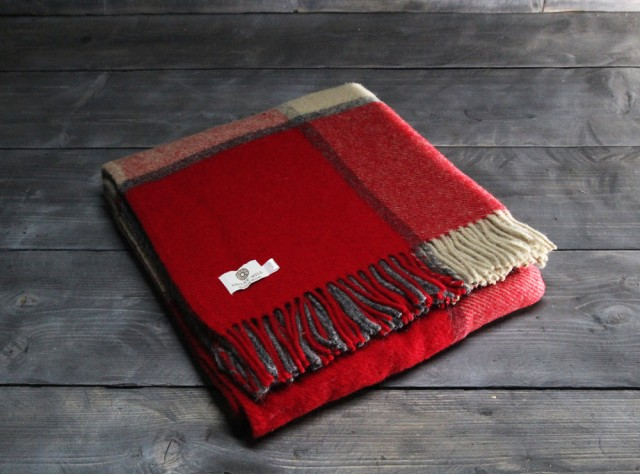 Block Check Red Slate Welsh Blanket