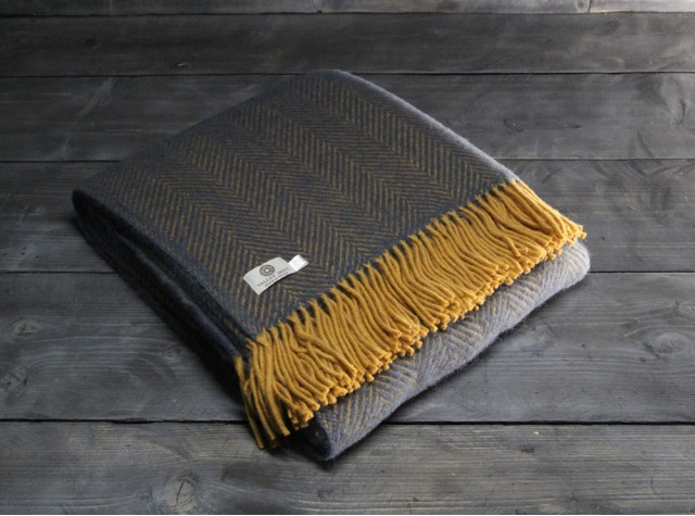 Herringbone Navy Mustard Welsh Blanket