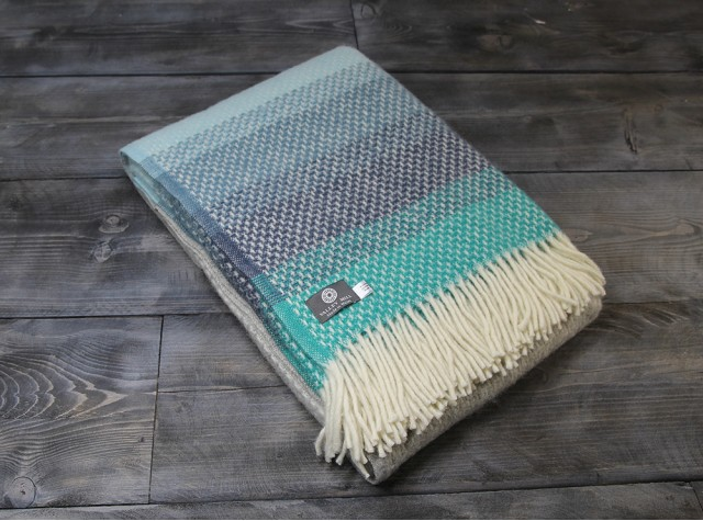 Ombre Seaside Blue Welsh Blanket
