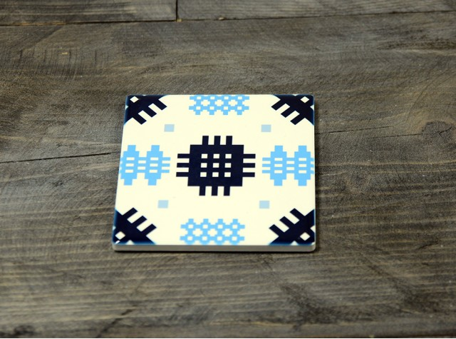 Welsh Tapestry Ceramic Coaster Indigo