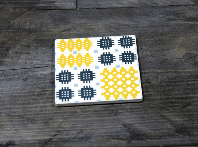 Welsh Tapestry Ceramic Coaster Mustard