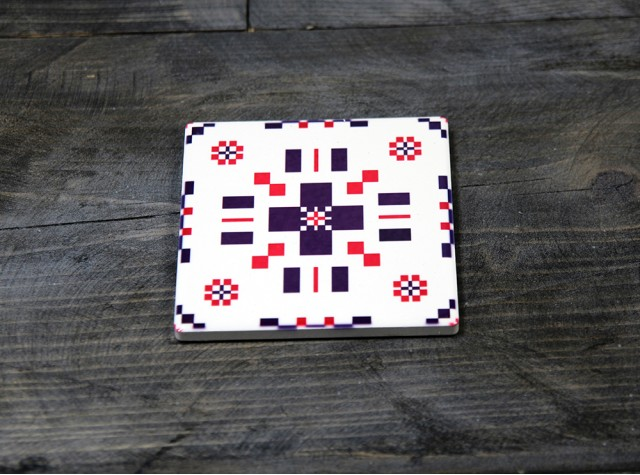 Welsh Tapestry Ceramic Coaster Berry