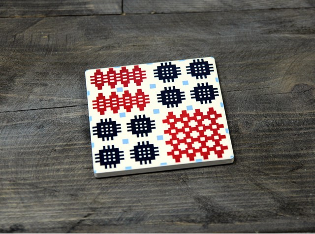 Welsh Tapestry Ceramic Coaster Blue/Red