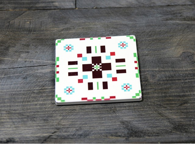 Welsh Tapestry Ceramic Coaster Green