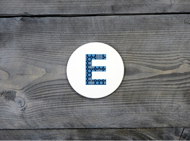 Welsh Tapestry Ceramic Coaster 'E'