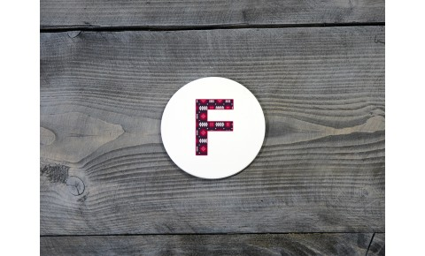 Welsh Tapestry Ceramic Coaster 'F'