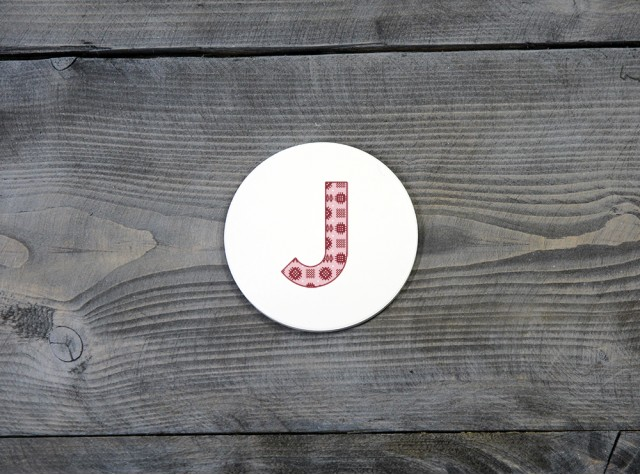 Welsh Tapestry Ceramic Coaster 'J'
