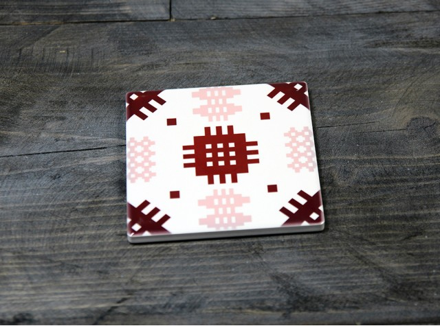 Welsh Tapestry Ceramic Coaster Pink