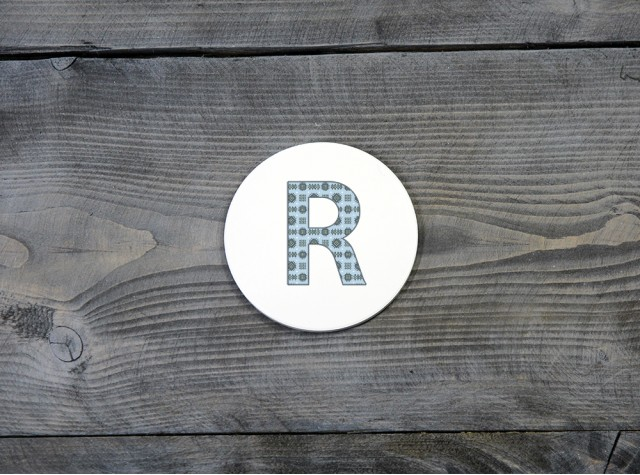 Welsh Tapestry Ceramic Coaster 'R'