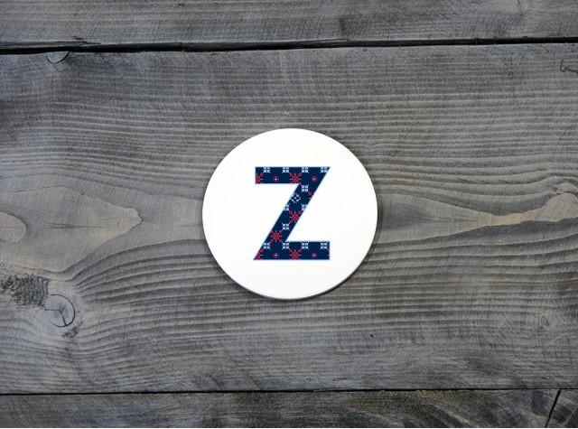 Welsh Tapestry Ceramic Coaster 'Z'