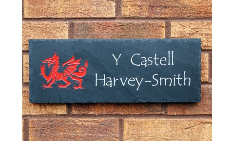 Welsh Slate House Sign - 200mm x 600mm x 20mm