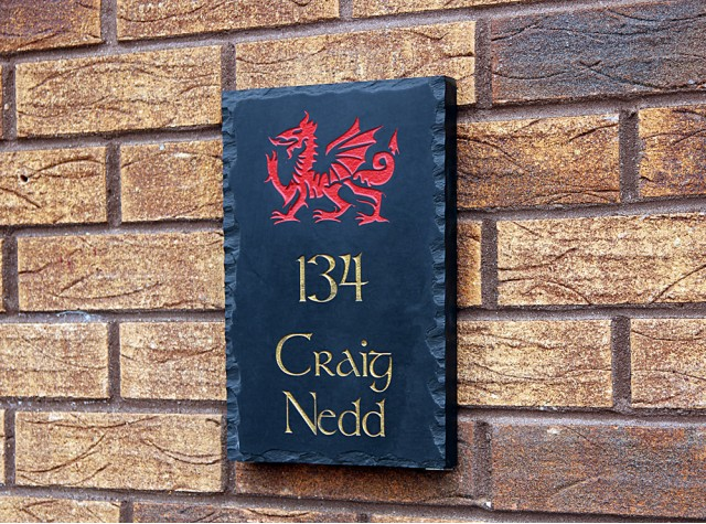 Welsh Slate House Sign - 300mm x 200mm x 20mm