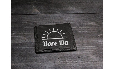 Square Welsh Slate Coaster - 'Bore Da'