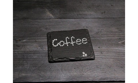Square Welsh Slate Coaster - 'Coffee'