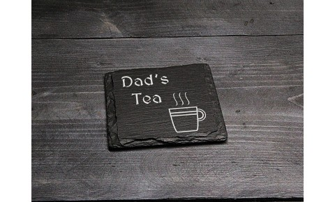 Square Welsh Slate Coaster - 'Dad's Tea'