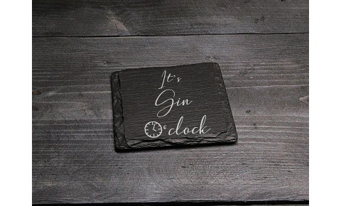 Square Welsh Slate Coaster - 'Gin O'Clock'