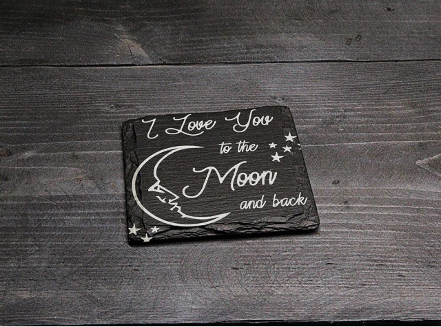 Square Welsh Slate Coaster - 'Moon and Back'