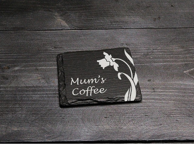 Square Welsh Slate Coaster - 'Mum's Coffee'