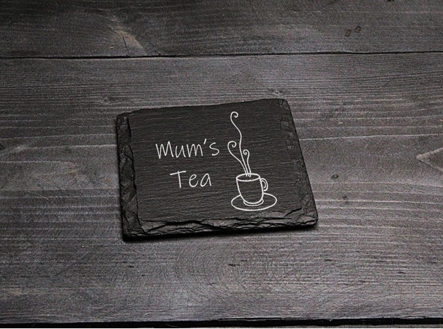 Square Welsh Slate Coaster - 'Mum's Tea'