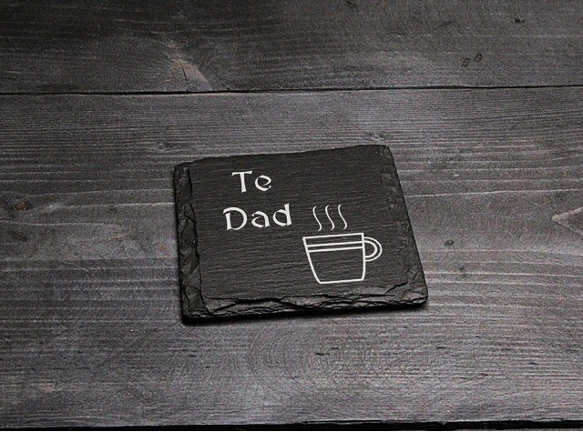 Square Welsh Slate Coaster - 'Te Dad'