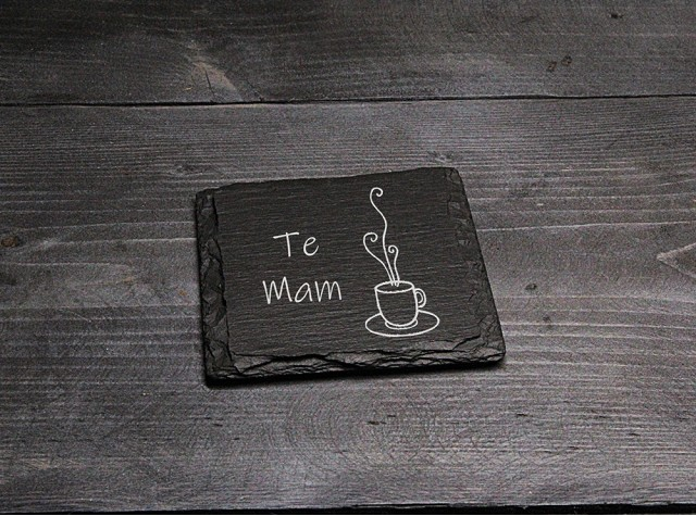 Square Welsh Slate Coaster - 'Te Mam'