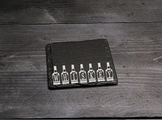 Square Welsh Slate Coaster - 'Whiskey'