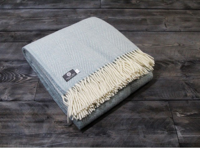 Fishbone Duck egg Welsh Blanket