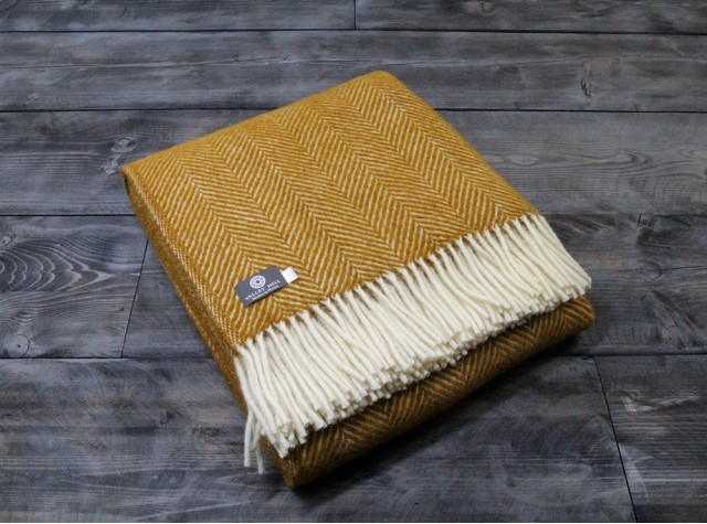 Fishbone Mustard Welsh Blanket