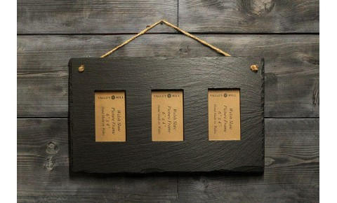 Welsh Slate Triple photo Frame - Landscape